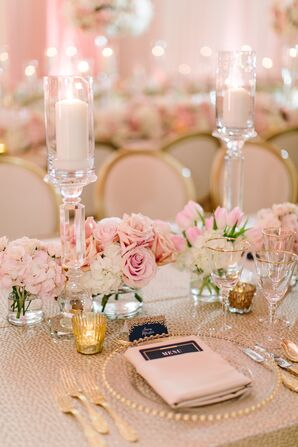 Blush Place Setting with Glass Candle Holders