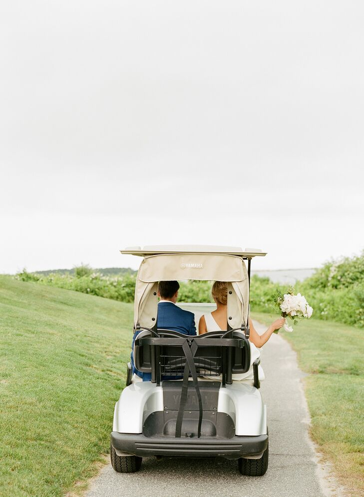 Couple at Country Club Wedding in Golf Cart