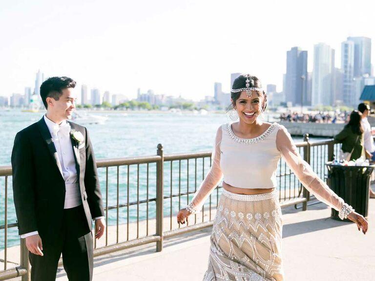 Bride wearing vintage-inspired Indian wedding dress