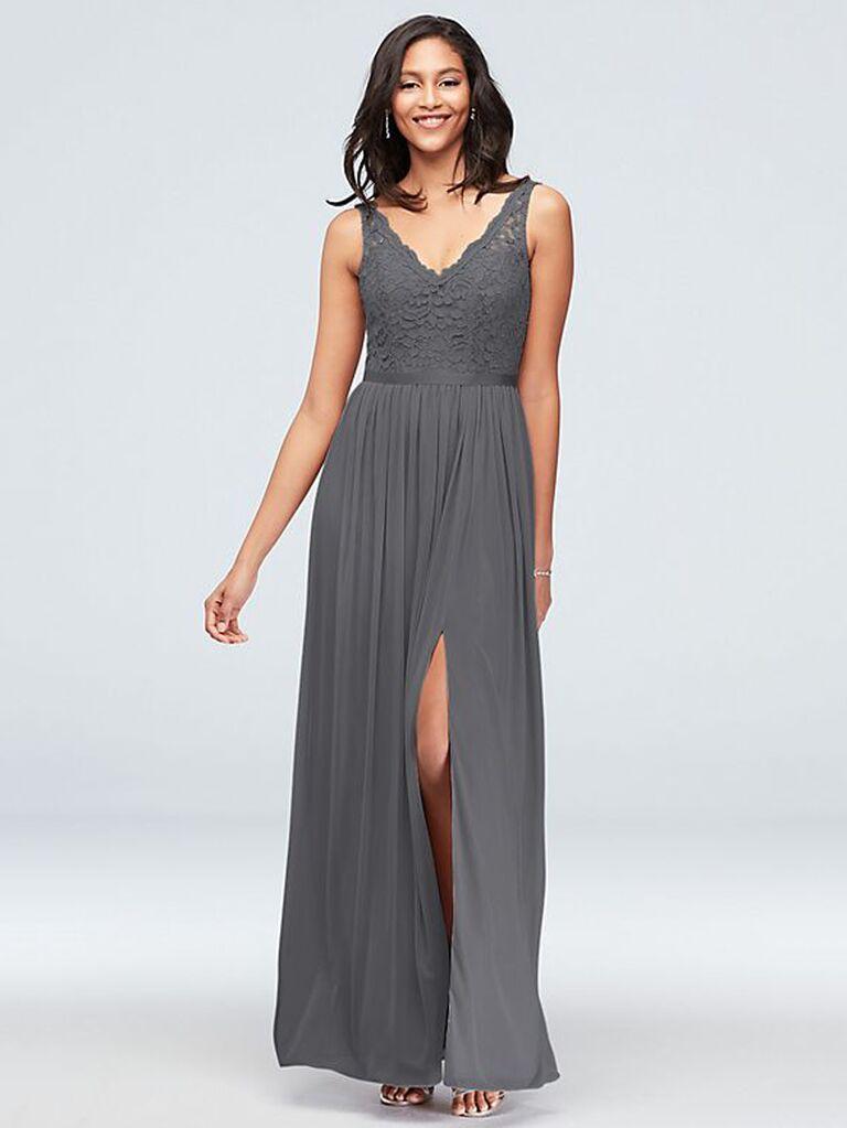 Dark gray lace bridesmaid dress