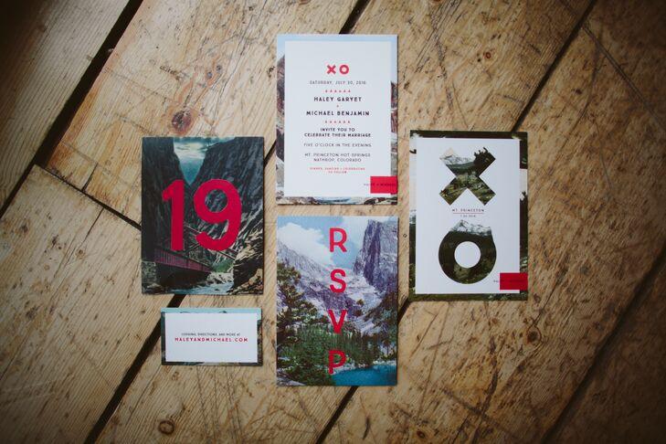Modern Mountain Postcard-Themed Invitations
