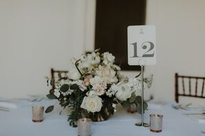 Ivory Rose, Stock, Ranunculus and Eucalyptus Centerpieces