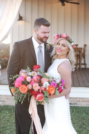Groom and Bride with Pink Bouquet and Flower Crown