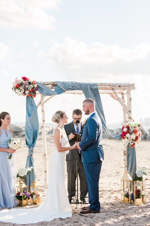 Birch Wedding Arbor with Slate-Blue Draping