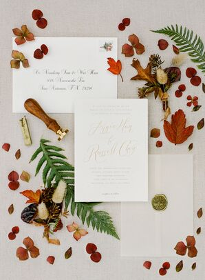 Romantic Invitation Suite with Calligraphy and Fall Leaves