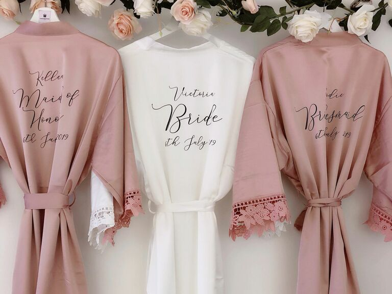 lace bridesmaid robe with writing