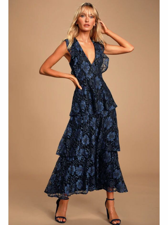 Navy cottagecore maxi dress with tiered skirt and v-neckline