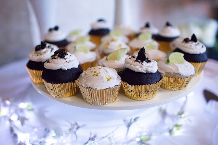 In lieu of a traditional wedding cake, a friend baked vegan Oreo cookie and lime margarita cupcakes—yum!