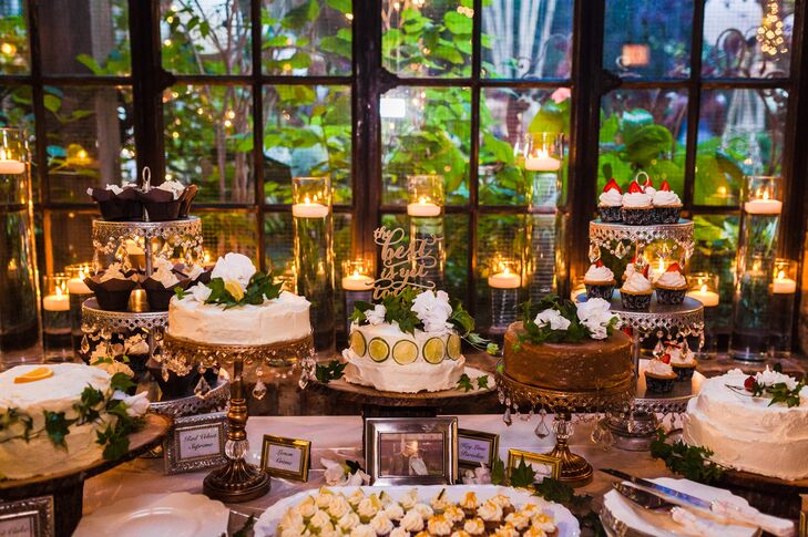 "The couple recruited boutique baker Cookie Crumb Cupcakes to bring together their custom dessert table. ""They create cakes with cookies on the bottom,"" the bride says. ""We had an assortment of sweets, including key lime and caramel mini cakes!"""