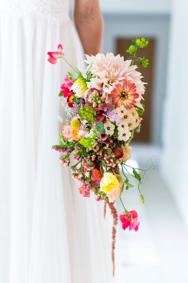 Cascading Pink Dahlia, Sweet Pea and Wildflower Bouquet