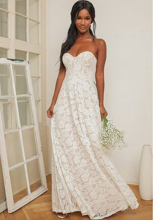 Lulus Dream Lasts Forever White Lace Bustier Strapless Maxi Dress A-Line Wedding Dress