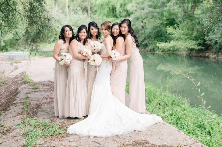 Mismatched Pale Blush Bridesmaid Dresses