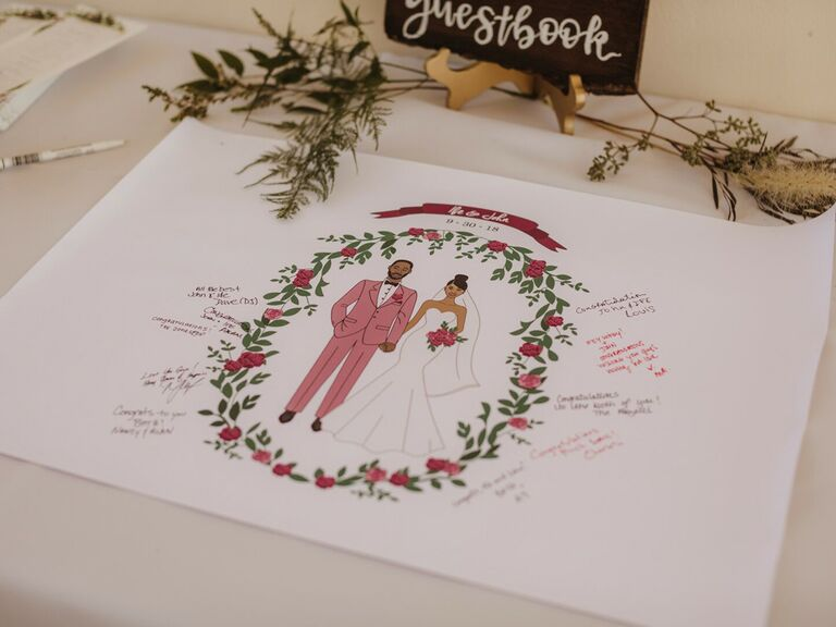 Large Personalised Pink Glitter Wedding Guest Book