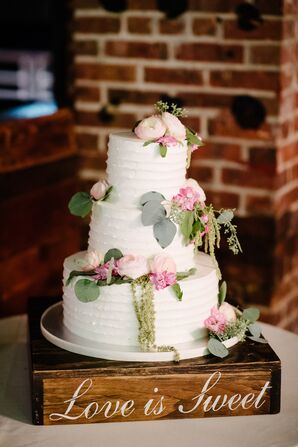 Buttercream Cake Featuring Ranunculus, Amaranthus and Eucalyptus