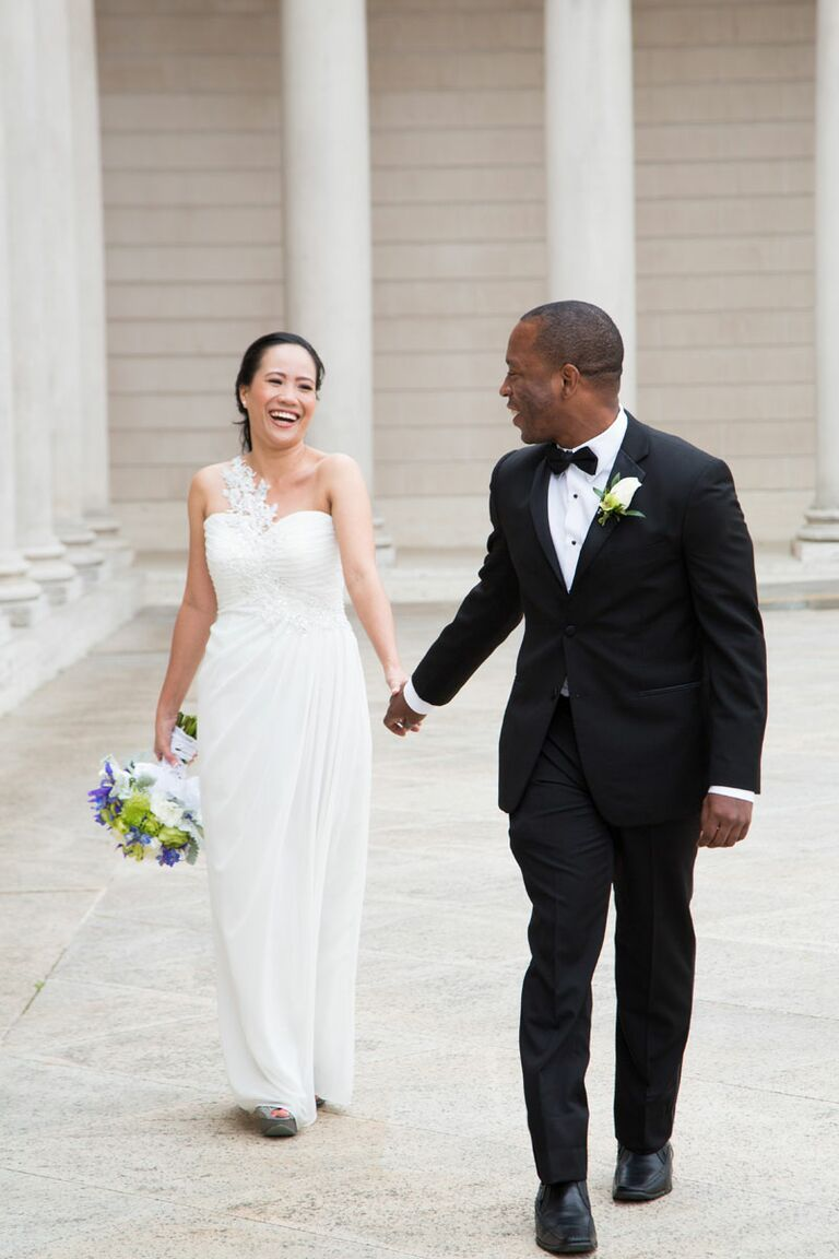 c30c29d9103 Bride in one-shoulder wedding gown and groom in classic black tux. YBOWYER  PHOTOGRAPHY. Summer is the ...