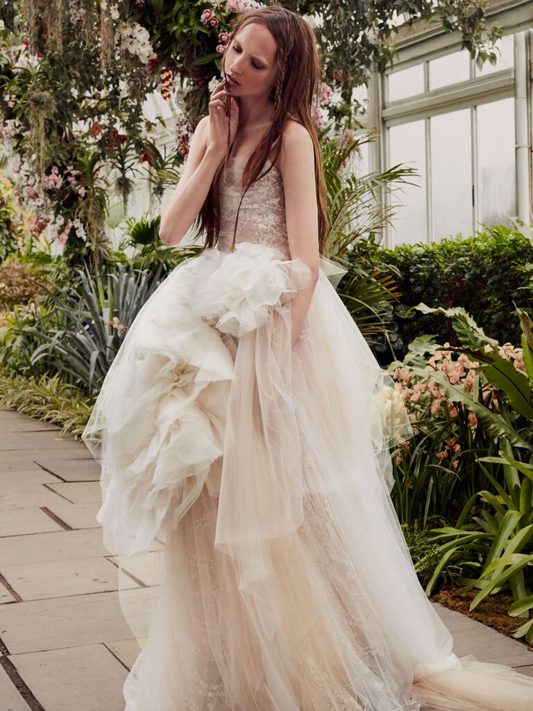 Vera Wang Spring 2020 Bridal Collection strapless ruffled wedding dress