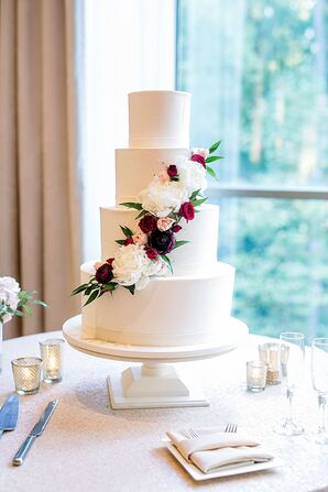 Simple Tiered Wedding Cake with Flower at Atlanta History Center in Georgia