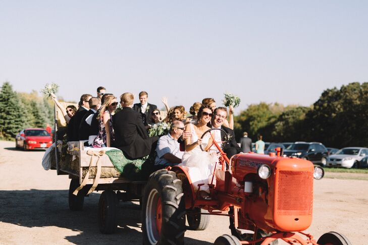 Oriana and Adam gave tours of the ranch on a tractor.