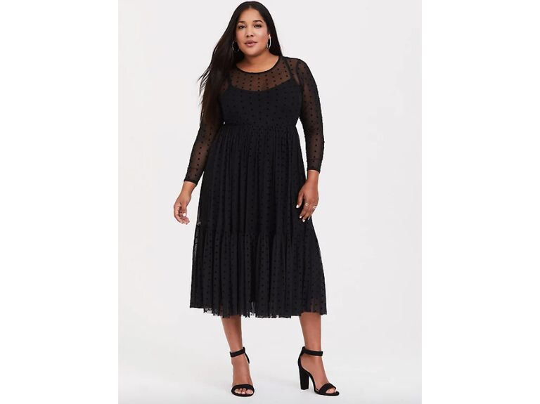 Black long sleeve dress with Swiss dots