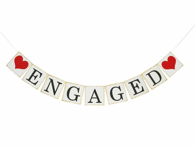 Engaged banner with hearts