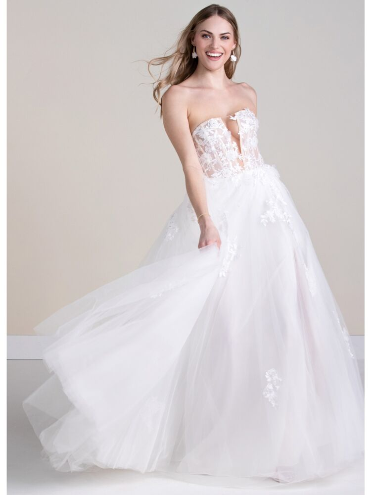 Wtoo strapless ball gown with deep V-neck