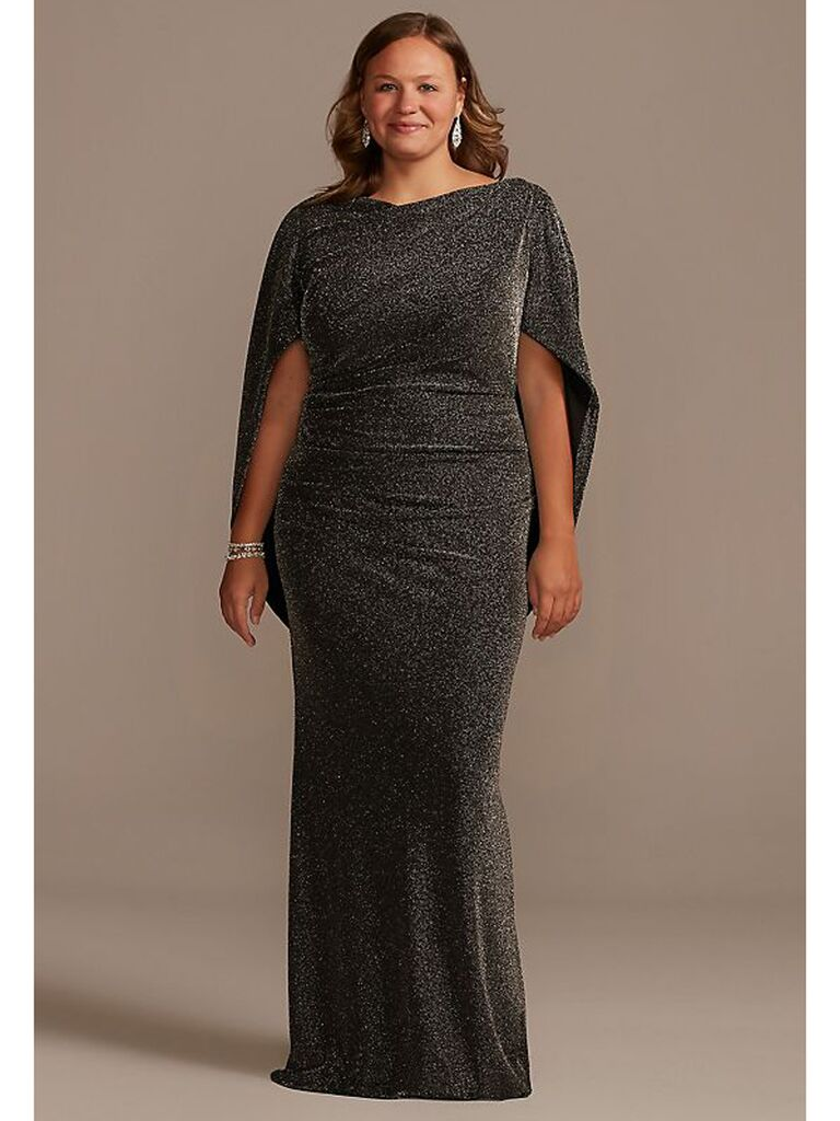 Black glitter plus size maxi dress with draped cape sleeves
