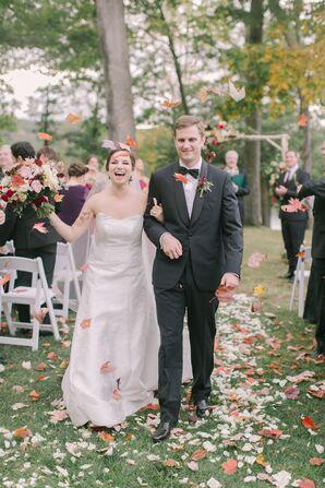 Couple Recessing at Tuxedo Park in Tuxedo, New York