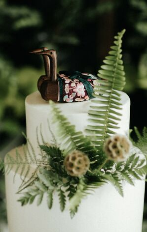 Wooden Cake Toppers and Fern Accents