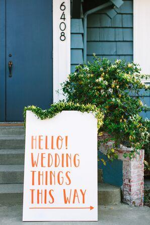 Modern Wedding Sign with Bright Orange Typography