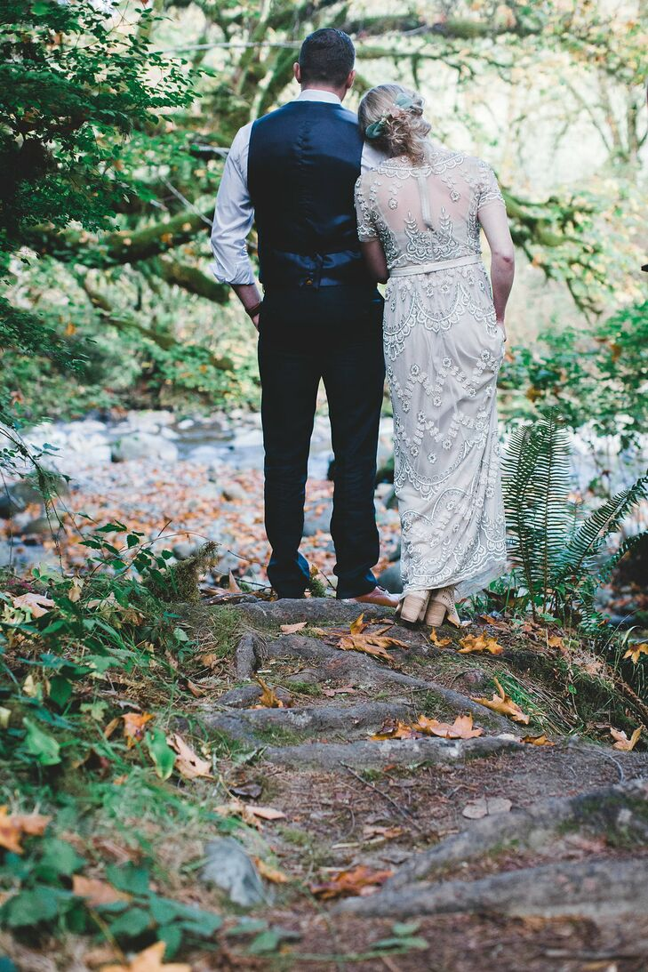 """I wanted the ceremony to be natural, outdoorsy and not too fussy,"" says Alicia, who exchanged personalized vows with Ryan before an officiant (with no guests) at TreeHouse Point in Issaquah, Washington."