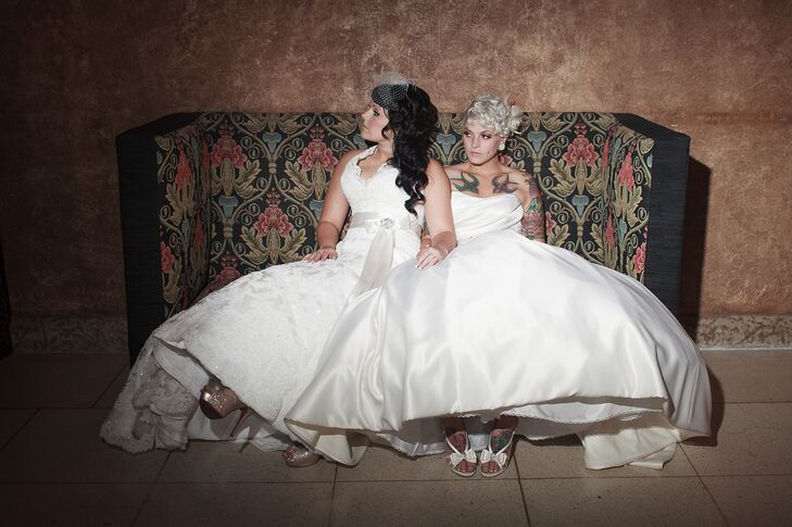 """Nicole and I had so much fun shopping for two wedding dresses,"" Morgan says. The brides wanted their dresses to pair well together—Nicole wore a simple strapless gown, and Morgan wore a vintage lace halter dress."