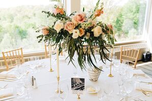 Romantic Cascading Pink Rose and Stock Centerpieces