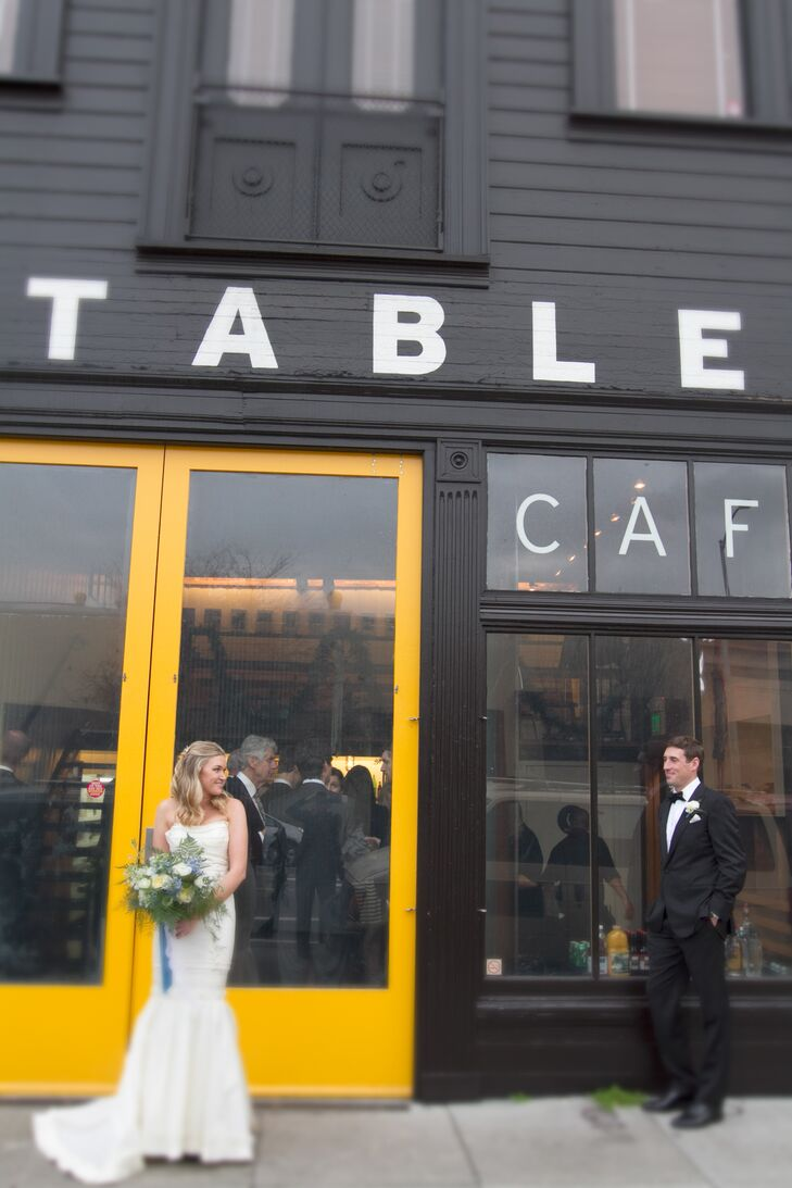 """""""We chose Stable Cafe because it happens to be one block from our house. I can even see the back of it from our dining room window, right where Taylor proposed!"""" says Lauren. """"It's such a gem, with multiple spaces to use, and industrial feeling cafe, and amazing garden courtyard and two indoor spaces as well as a massive fireplace. We knew it was the perfect reflection of us."""""""