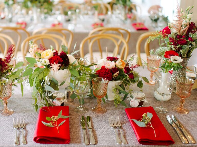red and white rustic French-inspired centerpieces