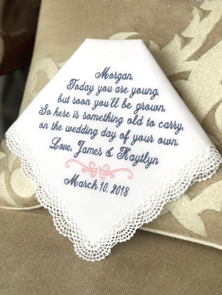 Flower girl embroidered handkerchief
