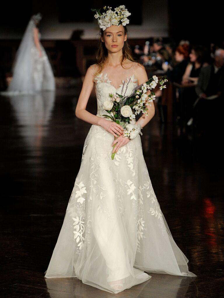Reem Acra Spring 2019 wedding gown with floral appliqués