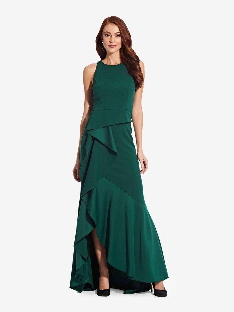 adrianna papell green winter bridesmaid dress with ruffles