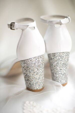 White Sandals with Silver Glitter Heels