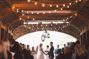 Hanging Lanterns and Twinkle Lights Ceremony Decor