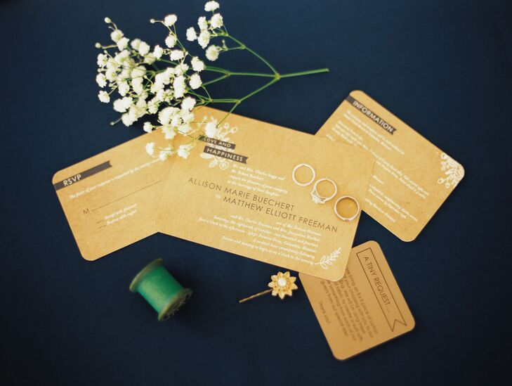 Shabby Chic Gold and White Invitation Suite