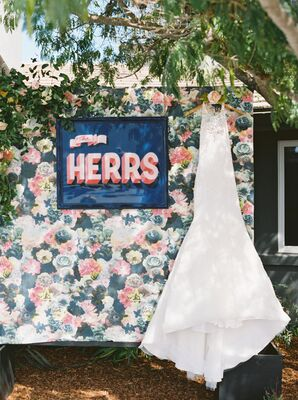 Bold Floral Backdrop and Signage
