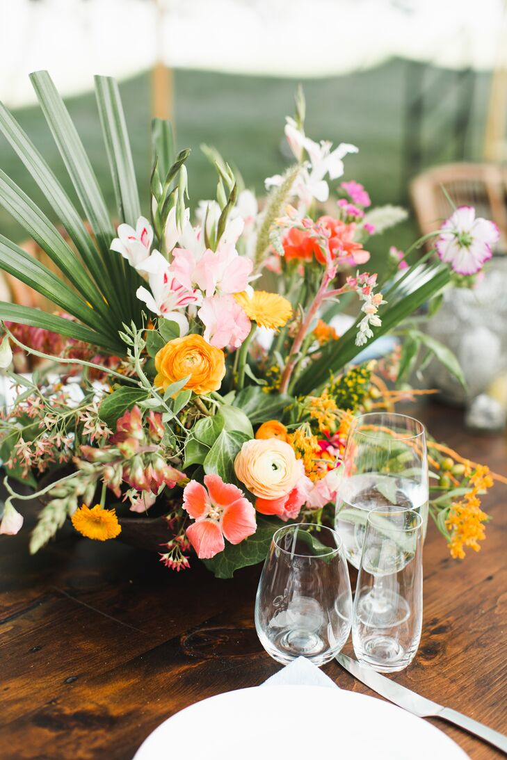 Bright Tropical Centerpiece with Ranunculus