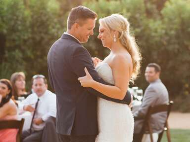 bride and groom first dance outdoor wedding