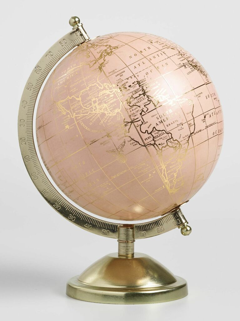 Pink and gold globe cute Valentine's Day gift for her