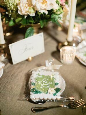 Monogrammed Cookie Favors at Rustic Estate Wedding in Ladue, Missouri
