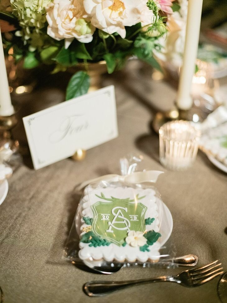 Monogrammed Cookie Favors at Rustic Estate Wedding in Ladue, Missouri