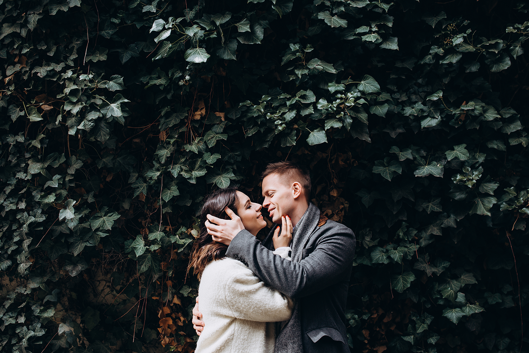 Engagement photo - couple in greenery