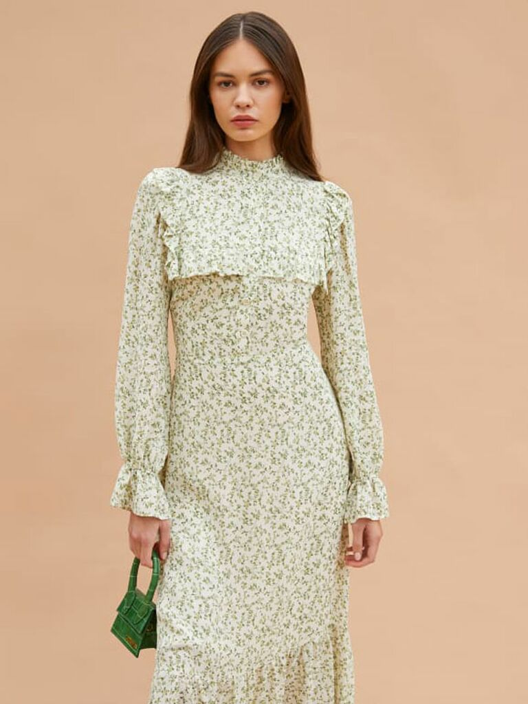 Green and white cottagecore dress with ruffled bodice and long sleeves