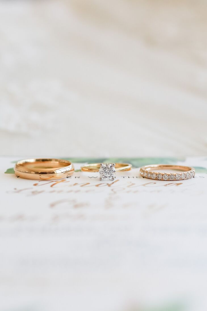 Andrea and Corey's traditional wedding bands were crafted with gold.