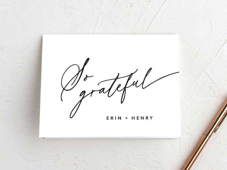 """So grateful"" wedding thank-you card"